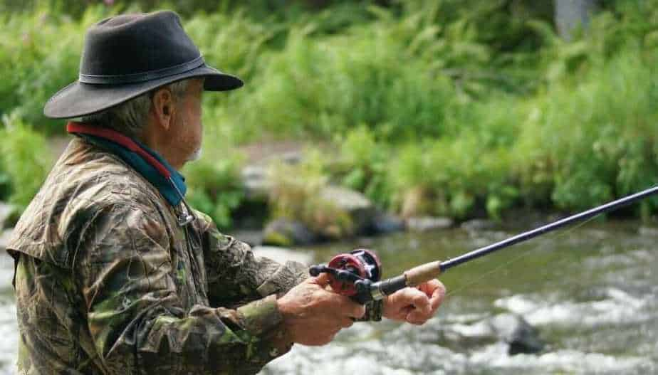 Fisherman with a baitcaster reel