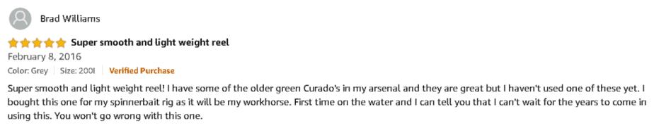 Shimano Curado Baitcast Reel Satisfied Customer Review