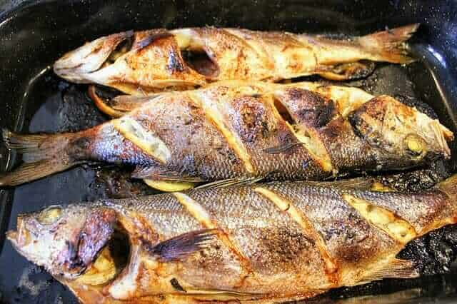Bass fish on a grill