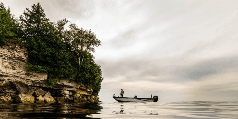 Man fishing on a boat
