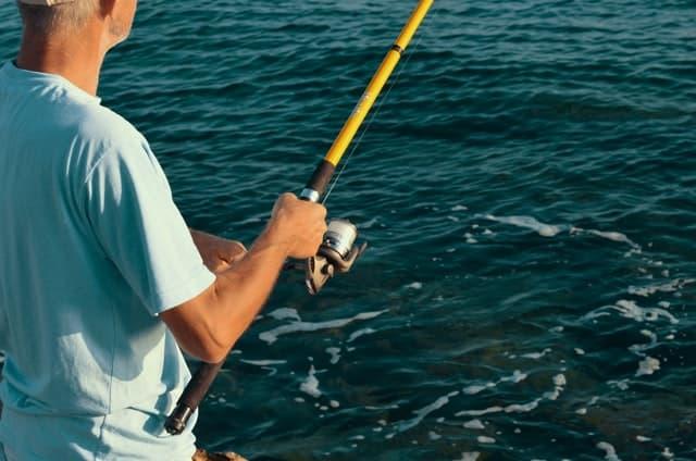 Man fishing in the sea