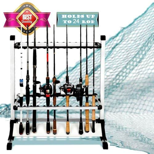 LUXHMOX Fishing-Rod Holder Rack Holds 24