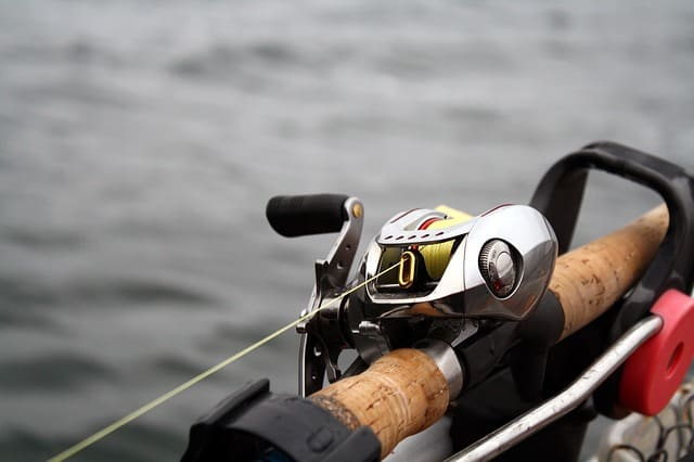 Baitcasting reel on a rod